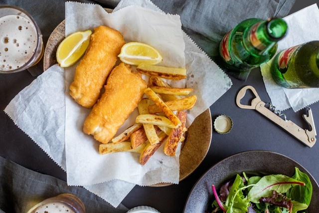 Fish & Chips with Greens Dressed in Honey-Malt Vinaigrette