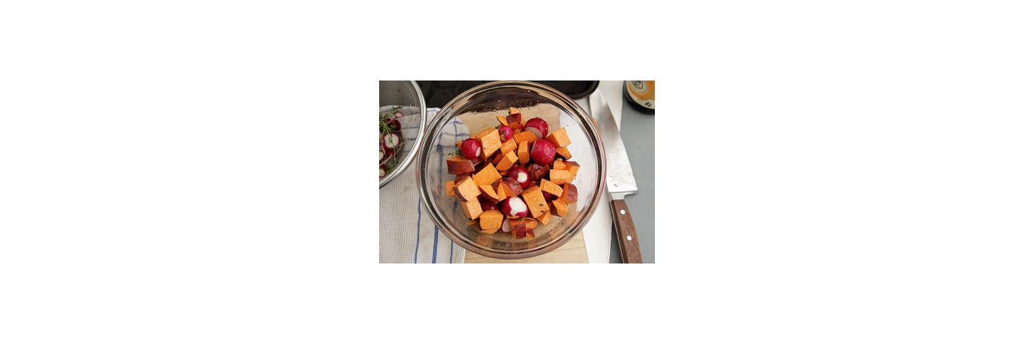 Sautéed Chicken and Apples with Roasted Sweet Potatoes and Radishes