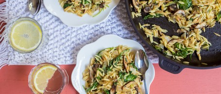 Browned Butter Orzo with Mushrooms, Sage & Greens