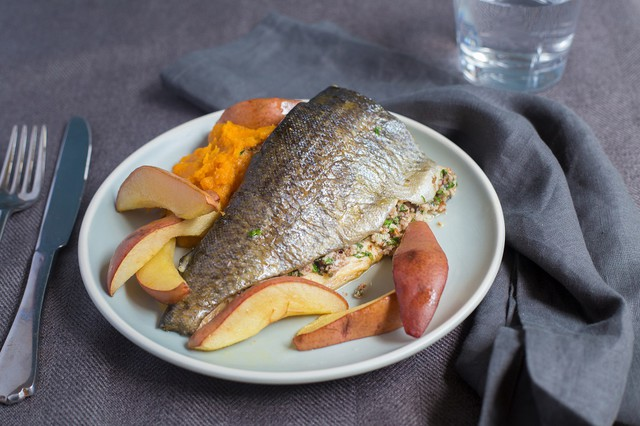 Pecan-Stuffed Trout with Pears