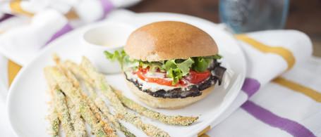 Portobello Sandwich with Parmesan Asparagus 'Fries'