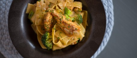 Chicken Paprikash with Seared Broccoli & Egg Noodles