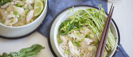 Chicken in Ginger Broth with Rice Noodles, Basil & Lime