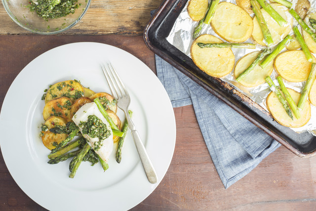Roasted Cod with Potatoes Asparagus and Salsa Verde