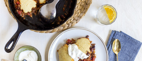 Grass-Fed Beef Chili with Red Beans, Cornmeal Dumplings & Sour Cream