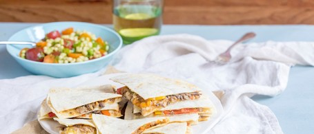 Cotija & Mushroom Quesadilla with Field Pea & Tomato Salad