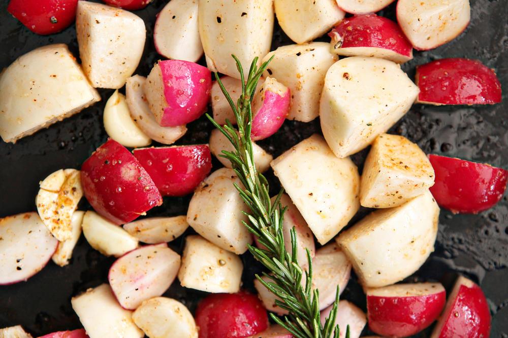 Rosemary Roasted Hakurei Turnips, Radishes, Garlic and Shallots over Buttered Lemon Farro