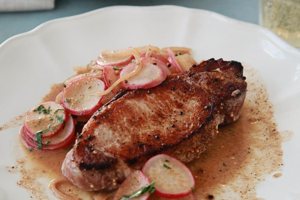 Pork Chops with Mustard Gravy and Radishes