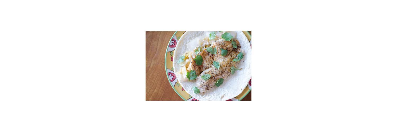 Black Bean & Cilantro Dip with Baked Tortilla Chips, Tilapia & Kimchi Tacos
