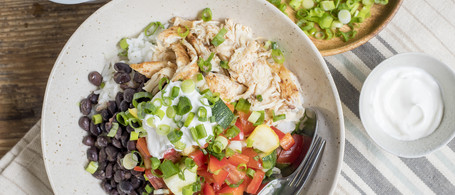 Chicken Burrito Bowl with Rice, Black Beans & Summer Squash Salsa