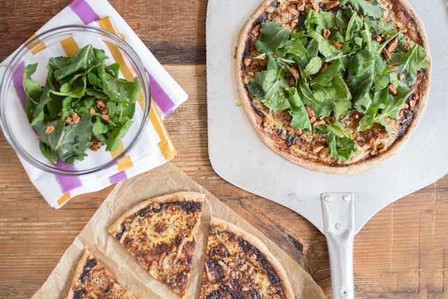 Balsamic-Onion Pizza with Gruyere & Arugula