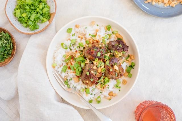 Jennifer Segals Vietnamese Style Meatballs with Chili Sauce and Jasmine Rice