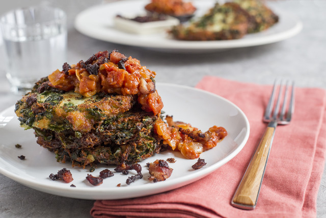 Ronni Lundy's Potato-Kale Pancake with Tomato-Bacon Gravy