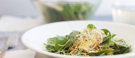 Green Tea Chicken over Spinach & Microgreens with Golden Dressing