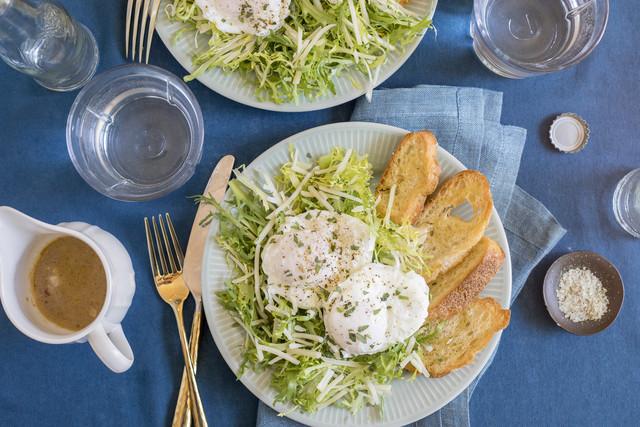 Poached Farm Egg & Frisée Salad with Sherry Vinaigrette, Tarragon & Gruyere