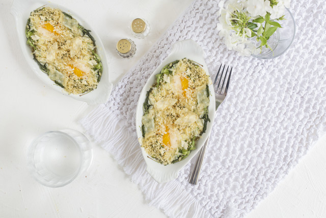 Farm Eggs with Shallot-Celery Cream & Arugula Salad