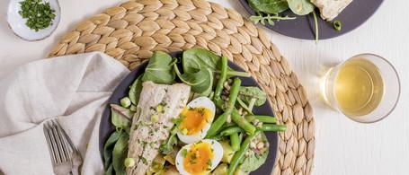 Nicoise Salad with Pan-Seared Fish, Farm Egg & Caper-Mustard Vinaigrette