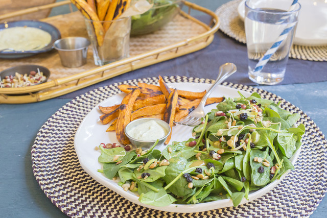 Spinach Salad with Crunchy Sprouts & Currants, Sweet Potato 'Fries' & Creamy Pesto
