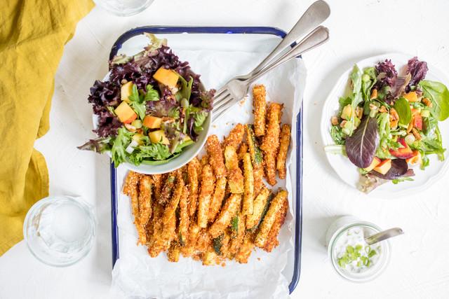 Summer Squash 'Fries' with Creamy Green Onion Dip & Peachy-Pecan Salad