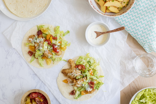 Eddie Hernandez's Fried Chicken Tacos with Jalapeño-Lime Mayo & Green Peach Salad