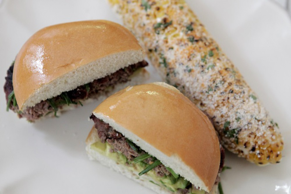 Grilled Grass-fed Burgers with Avocado and Elote
