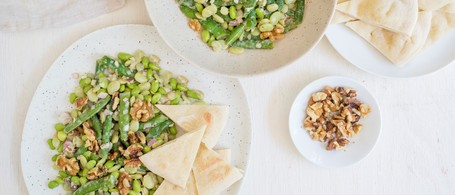 Three-Bean Salad with Creamy Caesar Dressing & Toasted Pita