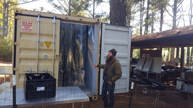 Todd Eittreim and the Global growers shipping container walk-in cooler