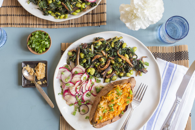 "Baked Sweet Potato with Sesame Miso ""Butter"", Greens, Mushrooms & Radish"
