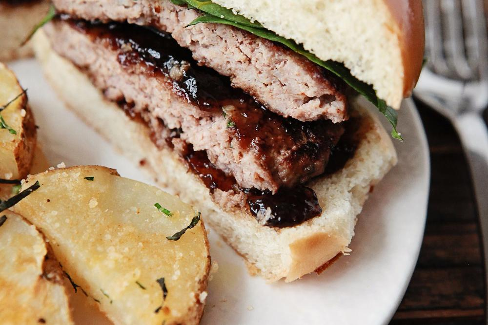 Turkey Burgers with Fig-Balsamic Preserves & Parmesan Herbed Potatoes