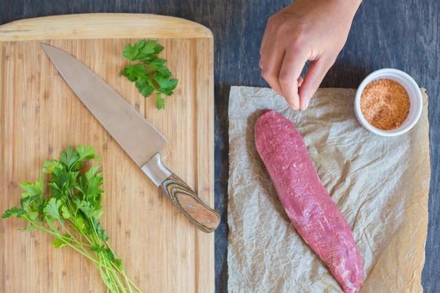Seasoning a bistro filet/teres major steak