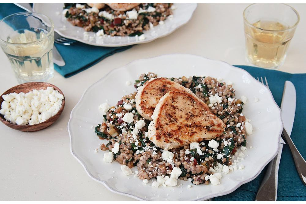 Chicken Breasts with Chard, Buckwheat, and Feta