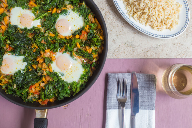 summer skillet with veggies and eggs
