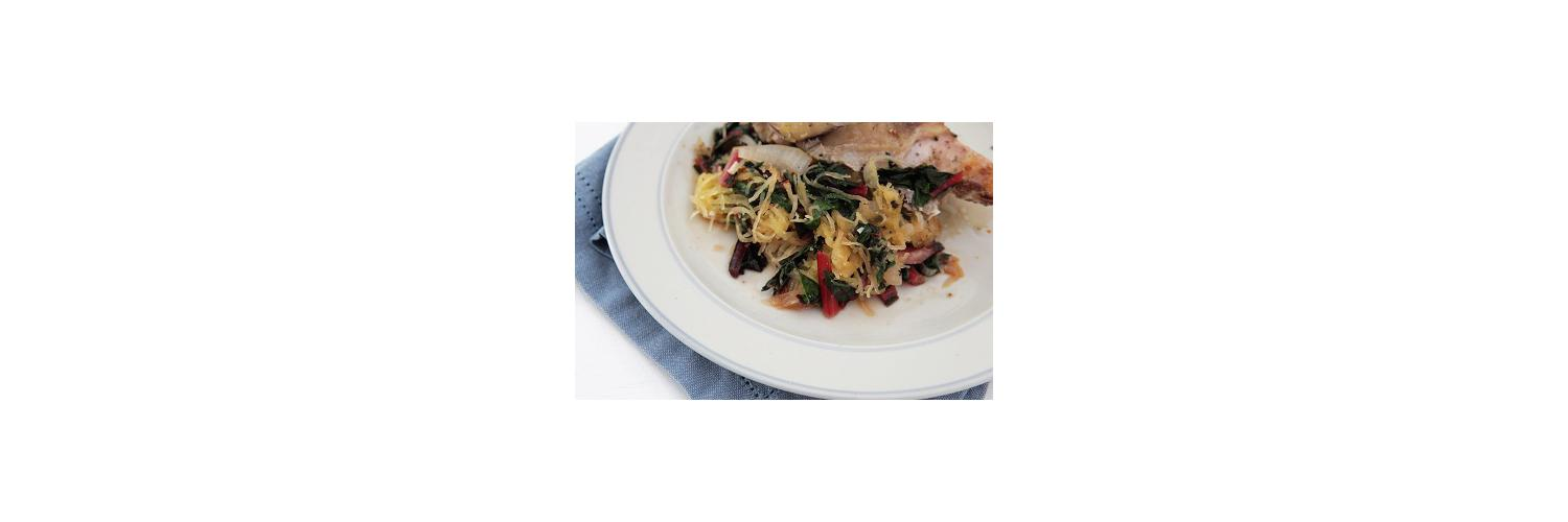 White Oak Pastures Guinea Hen Breasts with Sautéed Greens and Spaghetti Squash