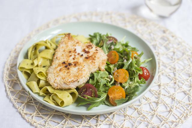 Chicken Milanesas & Pesto Pasta with Arugula-Caper Salad