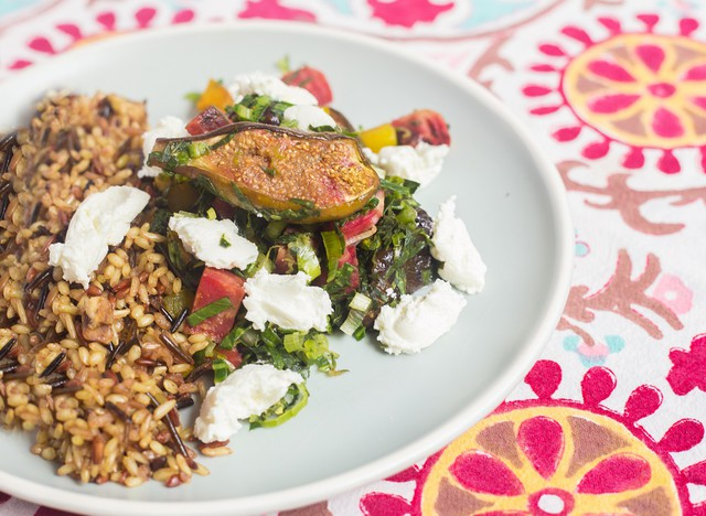 Roasted Baby Beets with Wild Rice, Sweet Potato Greens, and Goat Cheese