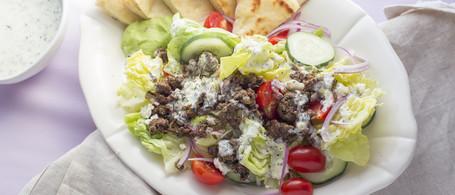 Greek Salad with Spiced Beef, Creamy Herb-Lemon Sauce & Toasted Pita