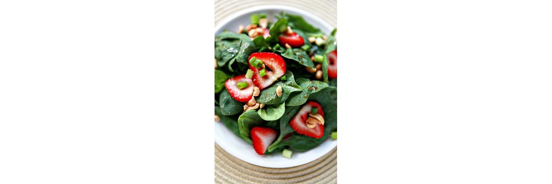 Strawberry & Spinach Salad, Chicken, Corn, Potato & Pea Hash