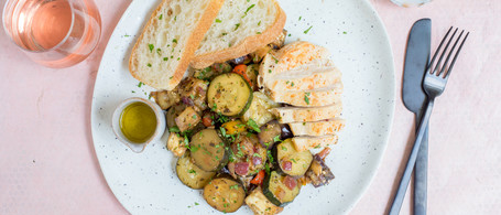 Chicken Agrodolce with Eggplant, Pepper & Zucchini