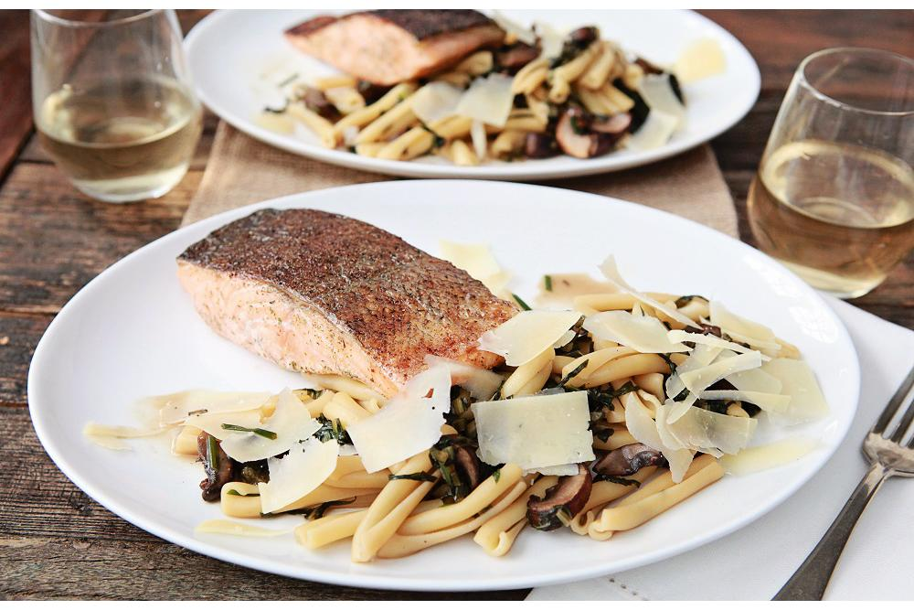 Roasted Salmon with Dandelion Greens, and Casarecce Pasta