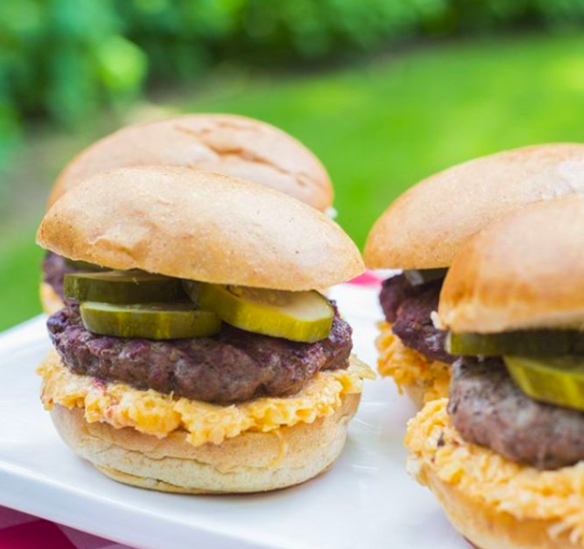cheeseburgers with pimento cheese and sliced pickles