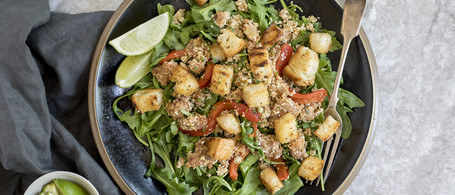 Chorizo & Spicy Greens Salad with Pan-Fried Croutons, Green Olives & Cotija Cheese