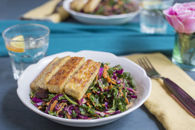 Chef Zu's Lime Tempeh with Collard Green & Red Cabbage Slaw