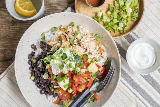 Chicken Burrito Bowl with Rice, Black Beans & Summer Squash Salsa