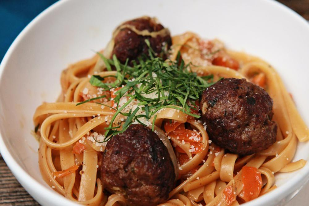 Fettuccine with Meatballs and Shaved Soffritto and Fresh Herbs