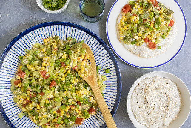 Okra, Corn & Butter Bean Skillet with Creamy Vegan Grits
