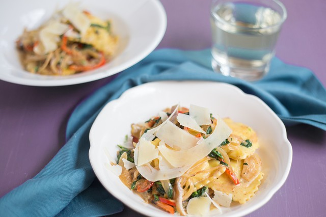 Shrimp and Langoustine Ravioli with Peppers