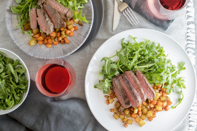 Seared Sirloin Steak with Sorghum-Glazed Carrots & Potatoes