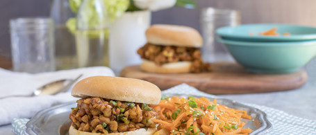 Barbecue Tempeh Sandwich with Carrot-Apricot Slaw