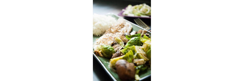 Cucumber Salad, Fish & Veggie Skillet with Jasmine Rice