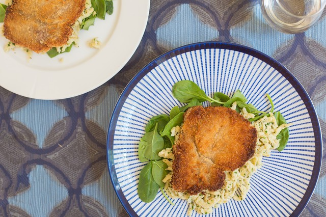 Pan-Fried Pork Chops with Herbed Noodles